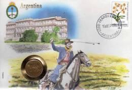 Numisbrief 1986 Numisletter Argentinien #72 5C Plus Argentina 10C O 12€ Mit Blume UNO 532 Flagge Flower Cover Of America - Argentine