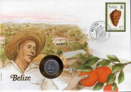 Numisbrief 1980 Numisletter Belize #34a 5C Queen Plus Brithis Honduras 10C O 12€ Mit Muschel WWF Nature Cover Of America - Belize