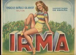 Etiquette De Caisse D´Oranges   -     Irma  -  25.50 X 29.50 Cm  -  Thème Femme - Illustrateur A. Peris - Fruits & Vegetables