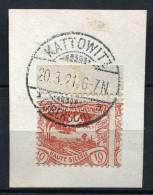11621) DT. BESETZUNG Oberschlesien # 16 Verzahnt Oberrand Gestempelt Aus 1920 - Occupation 1914-18