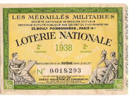 Loterie Nationale Des Médaillés Militaires/Secours Mutuel/Paris/1938       LOT2 - Biglietti Della Lotteria
