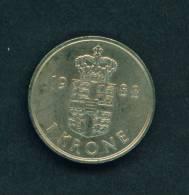 DENMARK  -  1988  1 Krone  Circulated As Scan - Denmark