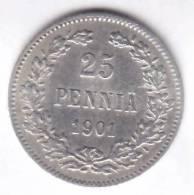 @Y@   FINLAND  25 Pennia 1901  Zilver / Ag     (1966) - Finlande