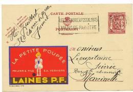 Verviers Pub Entier Postal 1948 Laines Pelzer Et Fils La Petite Poupée Jumet Vers Marcinelle - Verviers