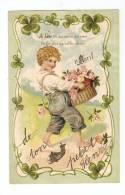 CPA Fantaisie : 1er Avril : Voeux 1er Avril : Garçonnet Portant Un Panier De Roses , Trèfles 4 Feuilles ( Gaufrée) - 1er Avril - Poisson D'avril