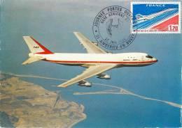 CARTE PREMIER JOUR CARTE MAXIMUM BASE AERIENNE D'AMBERIEU-EN-BUGEY AIN 1980 BOEING 747 - 1946-....: Modern Tijdperk