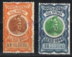 Italia 1960 Fiscali - £. 500 + £.1.000  Imposta Generale Sull´Entrata Usato Sicuro - 6. 1946-.. Repubblica