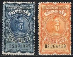 Italia 1959 Fiscali - £. 500 + £.1.000  Imposta Sull´Entrata Industria E Commercio Filigrana A Ruota Usato Sicuro - Revenue Stamps