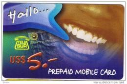 Surinam, $5, GSM, Prepaid Card, Smile (B), 2 Scans