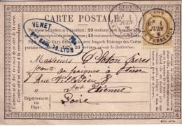 RHONE - LYON LES TERREAUX 1-6-1876 N°55 OBLITERATION CAD SUR CARTE PRECURSEUR. - 1849-1876: Periodo Clásico