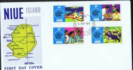 NIUE  1972  South Pacific Commission Harbour Building, Medical Services, Schools, Cattle    Unaddressed FDC - Niue