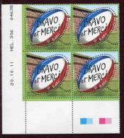 """Bloc De 4 Timbres** Gommés De 2011 """"0,60 € - Ballon De Rugby / Bravo Et Merci  - Phil@poste"""" Avec Date 20 . 10 . 11 - 2010-...."""
