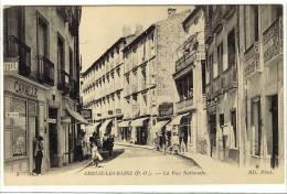 Carte Postale Ancienne Amélie Les Bains - La Rue Nationale - France