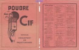 """Feuille PUBLICITE """" POUDRE CIF Paquets Rouges """" - Verso SYSTEME METRIQUE - Advertising"""