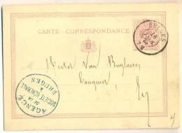1p817: 5ct CARTE CORRESPONDANCE : D7: BRUGES  75   : AGENCE DE LA SOCIETE GENERALE à BRUGES   ... E/v - Stamped Stationery