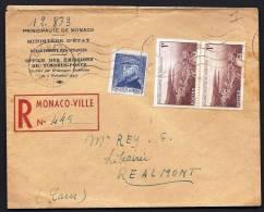 LETTRE RECOMMANDÉE DE MONACO POUR FRANCE- BON TIMBRAGE- N°242 +  PAIRE N° 265 - 1947 -   VOIR SCAN - Par EDITEURS