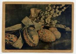 Pâques--carte Tchèque--1949---Oeufs,fleurs Et Vase---beau Cachet Marchienne Au Pont (Belgique) - Pâques