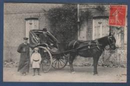 A LOCALISER - BELLE CARTE PHOTO ANIMEE - ATTELAGE 1 CHEVAL - CIRCULEE EN 1908 VERS BOISGUILLAUME - Photos