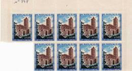 MONACO 1968 N° 747 Subiaco NEUF** Bloc De 9 - Monaco