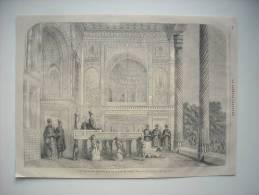 GRAVURE 1868. UNE AUDIENCE SOLENNELLE DU SCHAH DE PERSE. AVEC EXPLICATIF AU DOS. - Prenten & Gravure