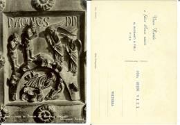 Pisa: Porta In Bronzo Del Duomo - Dettaglio. Cartolina Pubblicitaria G. Barsanti & Figli Con Auguri (Bonanno Pisano) - Pisa