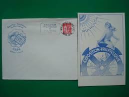 MULHOUSE . EXPOSITION PHILATELIQUE 1934 . 2 ENTIERS (CARTE+LETTRE) Avec FLAMME POSTALE DU 31.3.1934 - France