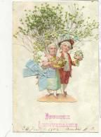 15303 Fleur + Collage Herbe .    Bouquet Rose Couple XVIIIième . Heureux Anniversaire 1905, Sans éditeur - Anniversaire