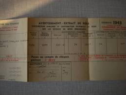 Avertissement Extrait De Role 1943 - Vieux Papiers