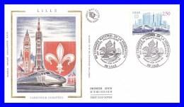 2811 (Yvert) Sur FDC Soie (GF-PJ) - Congrès De La Fédération Des Sociétés Philatéliques Françaises à Lille - France 1993 - FDC