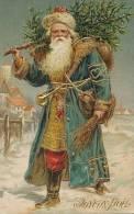 Père Noel Gaufrée Robe Bleue  Dorée Santa Klaus Embossed Blue Robe - Santa Claus