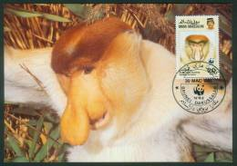 Brunei  1991  WWF - Nasenaffe  (4 MK  Kpl. )  Mi: 430-33 (11,00 EUR) - Brunei (1984-...)