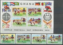 Ghana 1974 Football Soccer World Cup Set Of 4 + S/s With Winners Overprint MNH - Coppa Del Mondo