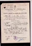 775  -  ESTRATTO RIASSUNTO  REGISTRO ATTI DI MORTE   /   COMUNE DI FERRARA 20.8.1964 - Vecchi Documenti