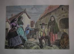 France - Types De L´Auvergne - Gravure Originale - 1879 - Aquarellée à La Main. - Prints & Engravings