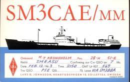 QSL -  Kaart - Amateur Radio Sweden - On Board Kronoholm - Solleftea 1963 - Cartes QSL