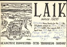 QSL -  Kaart - Amateur Radio Norway - Tronheim 1960 - Akademisk Radioklubb NTH - Cartes QSL