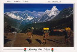 ## Nepal PPC Greetings From Nepal Lhotse Everest Nuptse Mt. Amadablam 1990? To Denmark (2 Scans) - Nepal