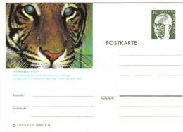 Entier Postal Allemagne, 1974 - Tiger / Tigre - Stationery Postcard - Big Cats (cats Of Prey)