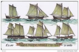 Isle Of Man, MAN 079,  2 £, Manx Fishing Vessels, Ships, 2 Scans. - Isla De Man