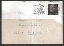 1992 100pf Adenauer On Wurzburg (30.8.92) To Czechoslovakia, Festival Cancel - Storia Postale
