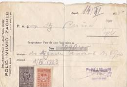 CROATIA  -   RACUN  ,,  POLIC I MUMIC  ,,  ZAGREB   -  1933  -  WITH TAX STAMPS - Rechnungen