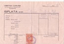 CROATIA  -   RACUN   ,, OBRTNA UDRUGA ,,   ZAGREB     -  WITH TAX STAMPS - Rechnungen