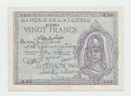 "Algeria 5 20 Francs 1941 1943 Both VF+ P 77b 92a ""2 Short Snorters"" RARE - Algeria"