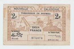 New Caledonia 2 Francs 1943 VF P 56a 56 A - Nouméa (New Caledonia 1873-1985)