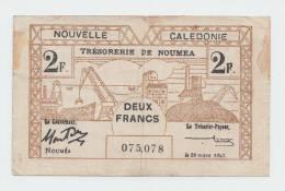 New Caledonia 2 Francs 1943 VF P 56a 56 A - Nouvelle-Calédonie 1873-1985