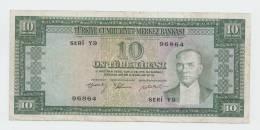 Turkey 10 Lira L.1930 (1958) VF RARE Banknote P 158 - Turchia