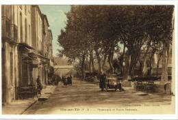Carte Postale Ancienne Ille Sur Têt - Promenade Et Route Nationale - Altri Comuni