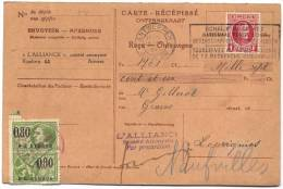 256 Sur Carte Récépissé Antwerpen 1929 - 1922-1927 Houyoux