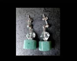 Boucles D'oreille En Aventurine Facetée / Aventurine Silver And Cristal Earrings - Earrings