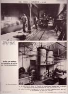 """Gravure 30 X 24  - JURA - Pêche De Gros Sel Dans Les """"poëles"""" - Atelier De Fabrication Du Sel Fin - Salines De MONTMOROT - Old Paper"""